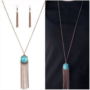 DESERT SKIES TURQUOISE COPPER NECKLACE/EARRING SET